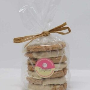 Franks Luxury Biscuits Half Dipped Raspberry White Chocolate Oaties