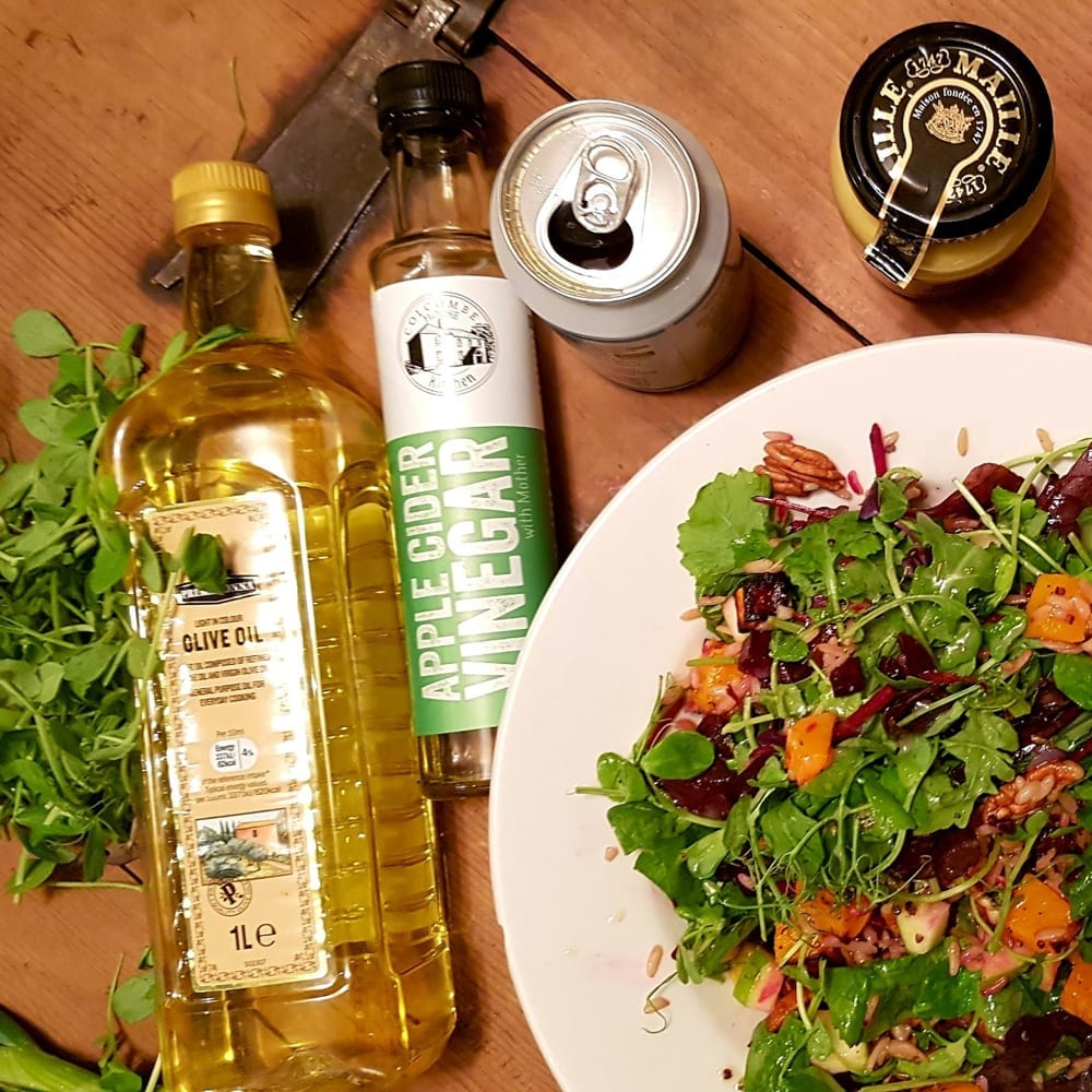 Seasonal Hearty Salad And Apple Cider Vinegar Salad Dressing